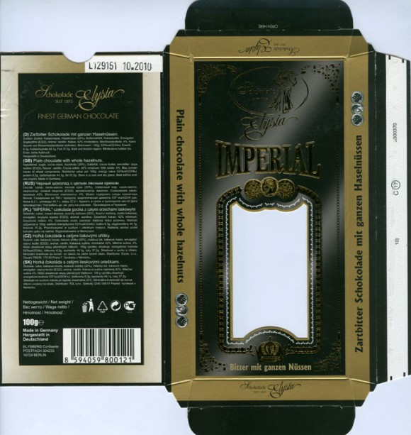 Imperial, plain chocolate with whole hazelnuts, 100g, 10.2009, Elysia, Elysberg Confiserie, Berlin, Germany