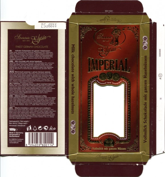 Imperial, milk chocolate with whole hazelnuts, 100g, 07.2010, Elysia, Elysberg Confiserie, Berlin, Germany