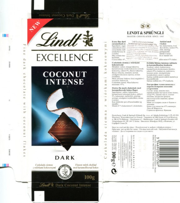 Lindt Excellence, extra fine dark chocolate with coconut, 100g, 10.2012, Lindt & Sprungli AG, Kilchberg, Switzerland