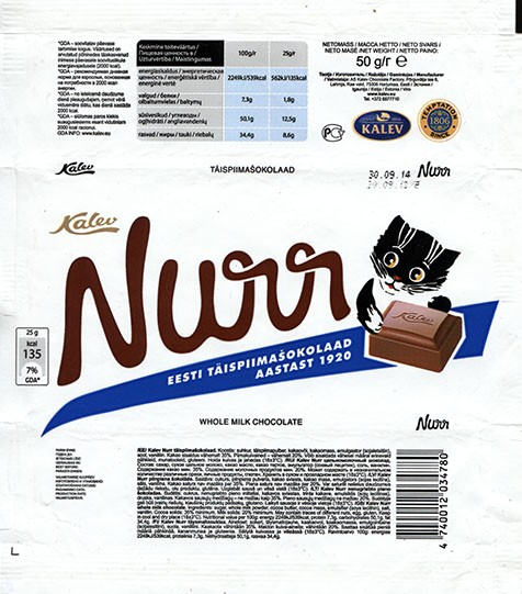 Nurr, whole milk chocolate, 50g, 20.09.2013, AS Kalev Chocolate Factory, Lehmja, Estonia