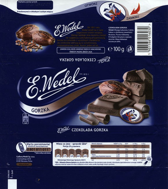 Dark chocolate, 100g, 29.08.2009, Cadbury Wedel Sp. z o.o., Warszawa, Poland