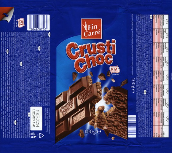 FinCarre, Crusti Choc, milk chocolate with crispy, 100g, 19.07.2013, Solent GmbH & Co. KG, Ubach-Paleberg, Germany