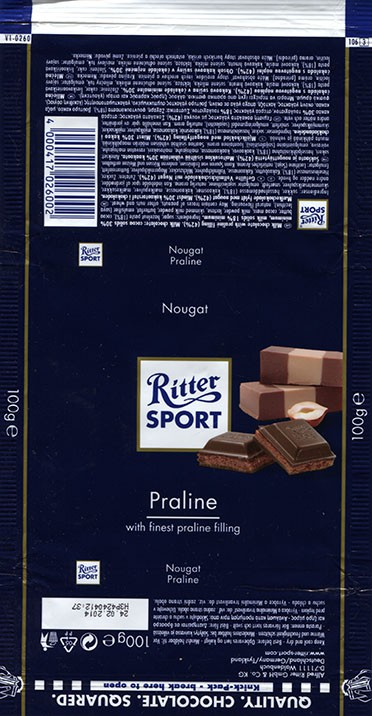 Ritter sport, milk chocolate with finest praline filling, 100g, 24.02.2013, Alfred Ritter GmbH & Co. Waldenbuch, Germany