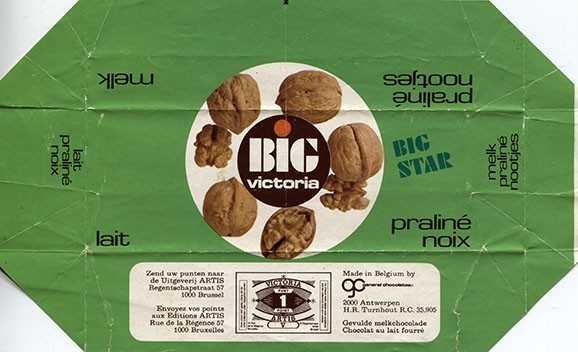 Big Victoria, milk chocolate with nuts, 1976, General Chocolates, Brussel, Belgium