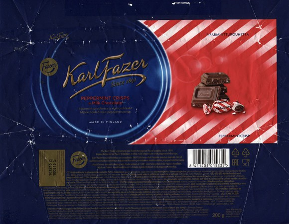 Milk chocolate with peppermint crisps, 200g, 18.03.2015, Fazer Makeiset oy, Helsinki, Finland
