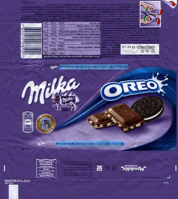 Milka, milk chocolate with Oreo bicuit pieces, 100g, 22.10.2014, Mondelez Polska S.A., Warszawa, Poland