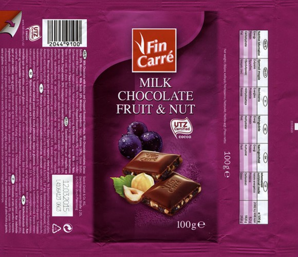 FinCarre, milk chocolate with raisins and chopped roasted hazelnuts, 100g, 12.03.2014, Solent GmbH & Co. KG., Ubach-Palenberg, Germany