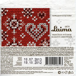 Milk chocolate, 20g, 18.10.2012, Laima, Riga, Latvia