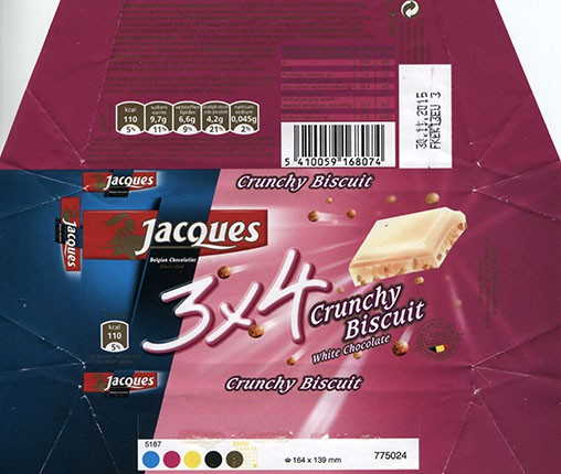 White chocolate with crunchy biscuit, 40g, 30.11.2014, Jacques Chocolaterie, Eupen, Belgium