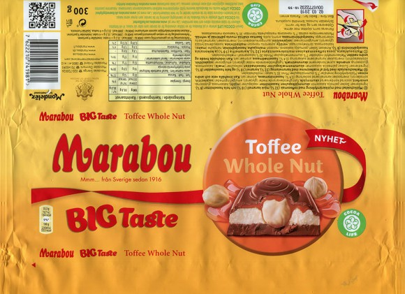 Marabou, big taste, milk chocolate with whole nuts and toffee, 300g, 03.06.2017, Mondelez International (Sverige), Sweden