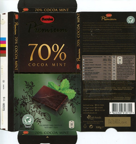 Marabou, Premium, dark chocolate with mint crisps, 100g, 13.10.2013, Kraft Foods Sverige, Angered, Sweden
