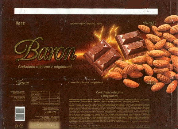Baron, milk chocolate with almonds, 250g, 11.2001, Millano, Przezmierowo, Poland