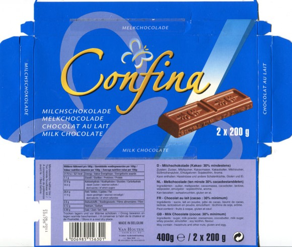 Confina, milk chocolate, 400g, 21.05.2010, Van Houten GmbH & Co.KG, Hamburg, made in Belgium