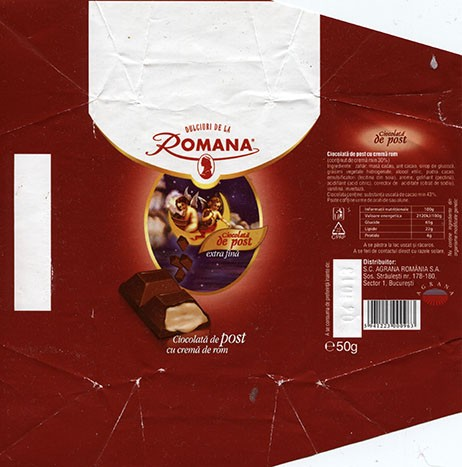 Milk chocolate with rum cream filling, 50g, 04.10.2012, Romana Prod SRL Roman membra Agrana Group Romania, Romania