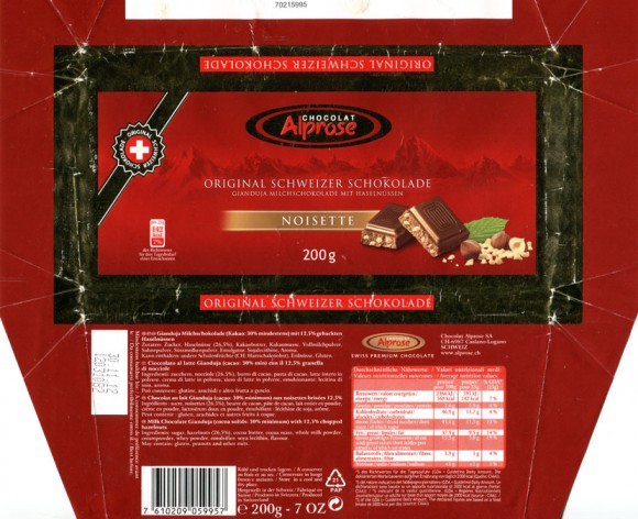 Milk chocolate Gianduja with 12,5% chopped hazelnuts, 200g, 30.11.2012, Chocolat Alprose S.A, Caslano/Lugano, Switzerland