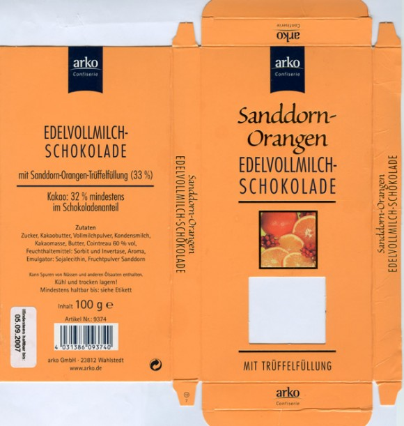 Milk chocolate with orange filling, 100g, 05.09.2006, Arko Gmbh, Wahlstedt, Germany