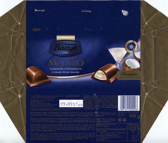 Chocolate with a Malibu rum flavour filling, 152g, 09.2016, Baltyk ZPC, Gdansk, Poland