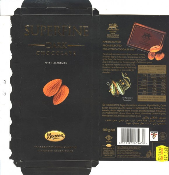 Fine dark chocolate with almonds, handcrafted from selected forastero cocoa beans, 100g, Beacon, Tiger Food Brands Ltd., Bryanston, South Africa