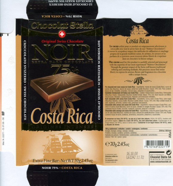 Costa Rica, dark chocolate with cocoa from Costa Rica, 70g, 16.10.2006, Chocolat Stella SA, Chocolat Bernrain AG, Kreuzlingen, Switzerland