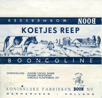Milk chocolate, about 1970, Boon N.V., Wormerveer, Holland