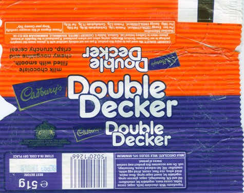 Double Decker, milk chocolate filled with smoth, chewy nougatine and crisp, crunchy cereal, 51g, 09.1992, Cadbury\