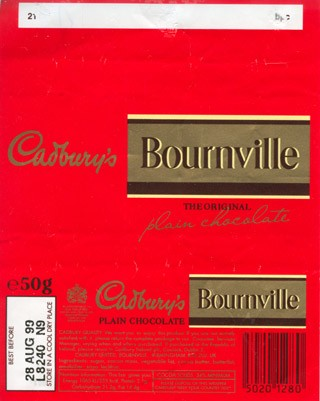 Bournville, plain chocolate, 50g, 28.08.1998, Cadbury Limited, Birmingham, United Kingdom