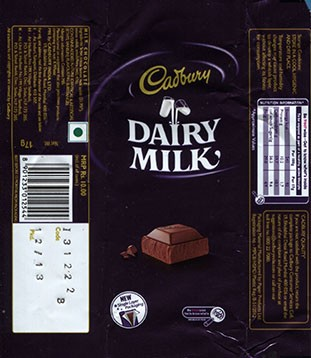 Cadbury dairy milk, milk chocolate, 17g, 12.2013, Cadbury India LTD, Bumbai, India