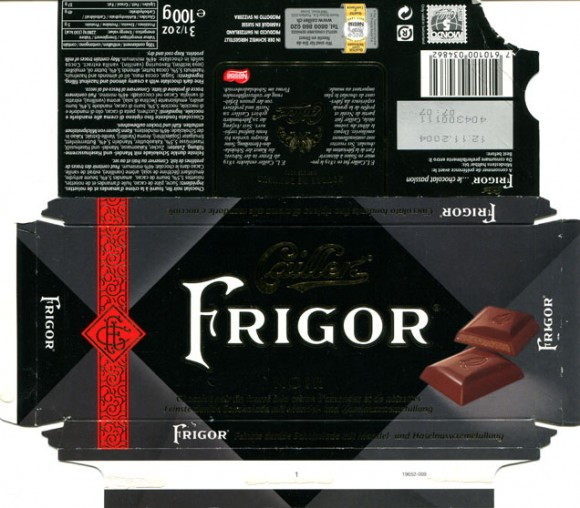 Fine dark chocolate with a creamy almond and hazelnut filling, 100g, 12.11.2003, Caillers, Switzerland
