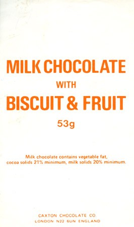 Milk chocolate with biscuit and fruit, 53g, 1980, Caxton chocolate CO., London, England