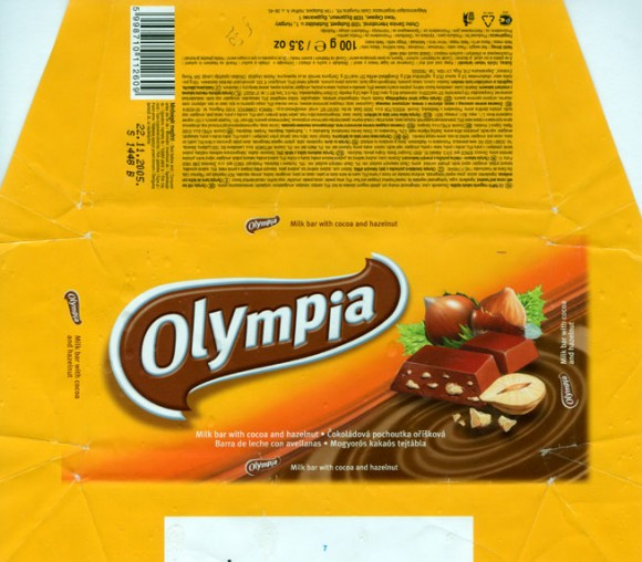 Olympia, milk bar with cocoa and huzelnut, 100g, 22.11.2004, Csoki Hungaria Kft, Budapest,Hungary