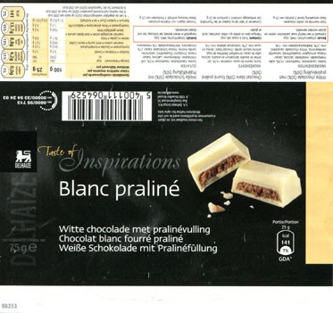 Taste of inspiration, white chocolate with praline filling, 75g, about 2012, S.A. Delhaize Group N.V., Bruxelles-Brussel, Belgium
