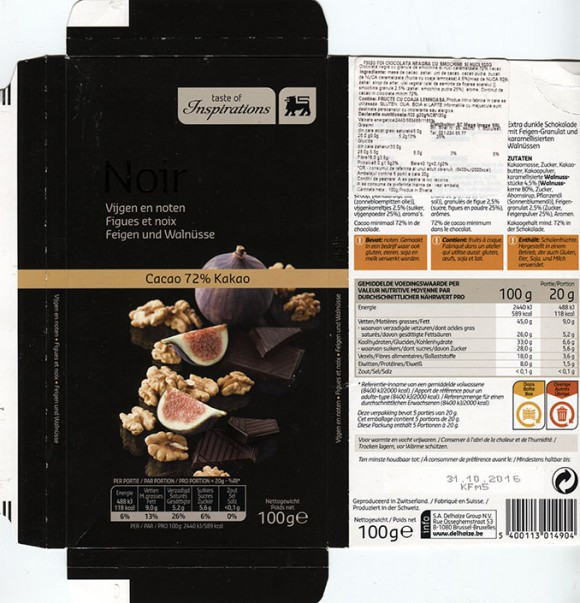 Taste of inspiration, extra pure chocolate with figs and walnuts, 100g, 31.10.2015, S.A. Delhaize Group N.V., Bruxelles-Brussel, Made in Switzerland