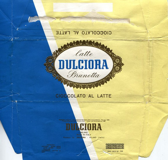 Milk chocolate, 100g, about 1970, Dulciora, Milano, Italy