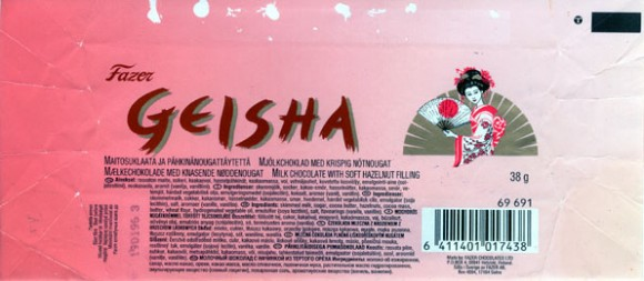 Geisha, milk chocolate with soft hazelnut filling, 38g, 1995