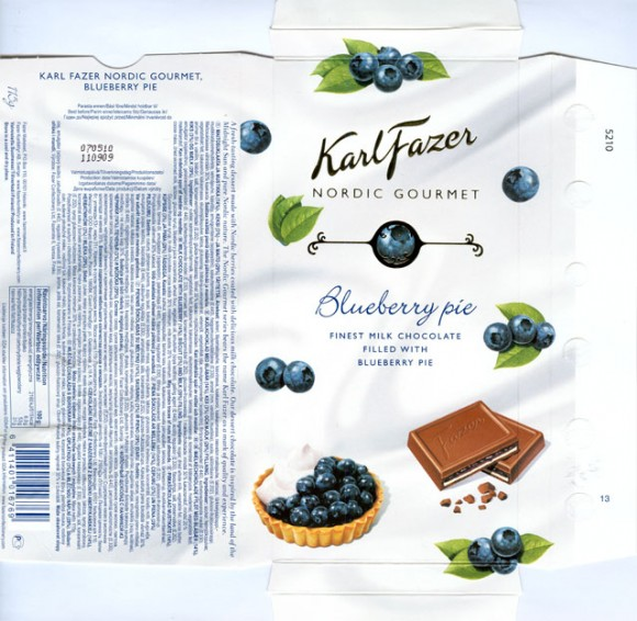 Karl Fazer Nordic gourmet, milk chocolate with blueberry, biscuit and milk filling, 115g, 11.09.2009, Fazer Makeiset, Helsinki, Finland