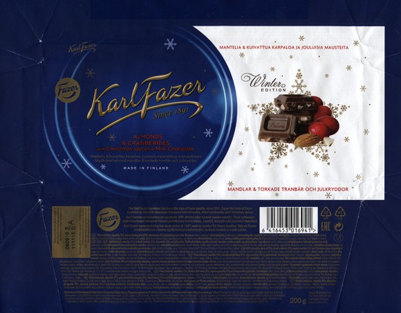 KarlFazer Since 1891, Winter Edition, milk chocolate, almond, dried cranberry, cookie crumble and Christmas spices, 200g, 11.09.2015, Fazer Makeiset oy, Helsinki, Finland