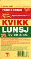 Kvikk Lunsj, chocolate with biscuits, a good snack, 40g, about 1995, Freia, Oslo, Norway