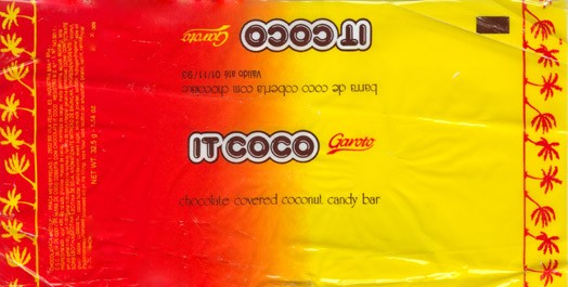 Chocolate covered coconut candy bar, 32,5g, Chocolates Garoto S.A, Vila Velha, Brasil