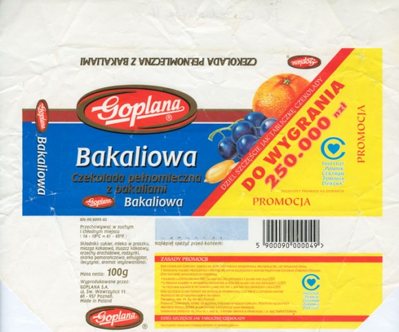Milk chocolate with fruits, 100g, 01.1996, Goplana S.A, Poznan, Poland