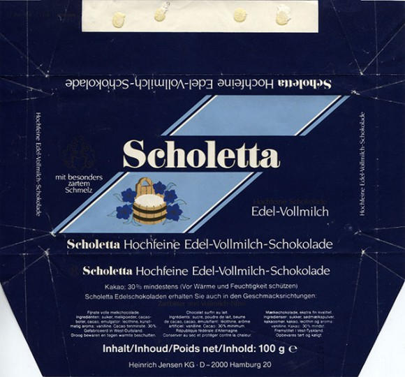 Scholetta, milk chocolate, 100g, Heinrich Jensen, Hamburg, Germany