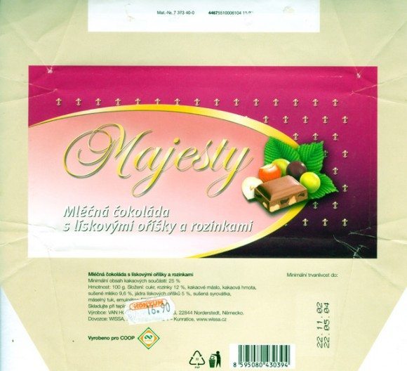Majesty, milk chocolate with raisins and nuts, 100g, 22.11.2002, Van Houten GmbH & Co. KG., Norderstedt, Germany
