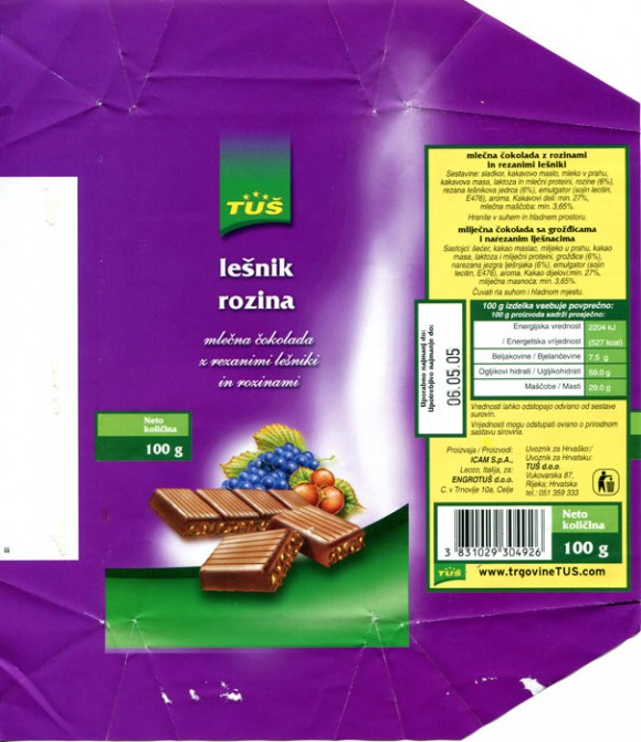 Milk chocolate with hazelnuts, 100g, 06.05.2004, ICAM S.p.A for Engrotus d.o.o, Lecco, Italy