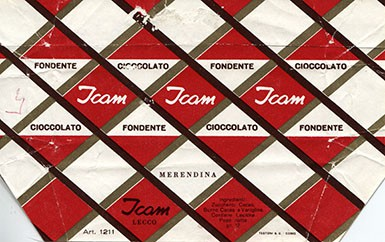 Dark chocolate, 12g, about 1980, ICAM, Lecco, Italy