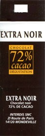 Extra noir chocolate 72%, Interdis SNC, Mondeville, France