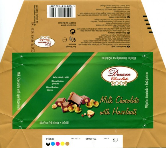 Milk chocolate with hazelnuts, 90g, 05.2004, Intersweet GmbH, Norderstedt, Germany