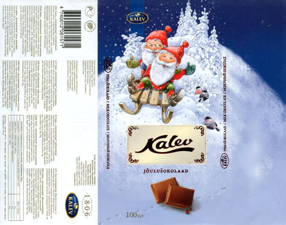 Kalev, Joulusokolaad, milk chocolate, 100g, 19.11.2007, AS Kalev Chocolate Factory, Lehmja, Estonia