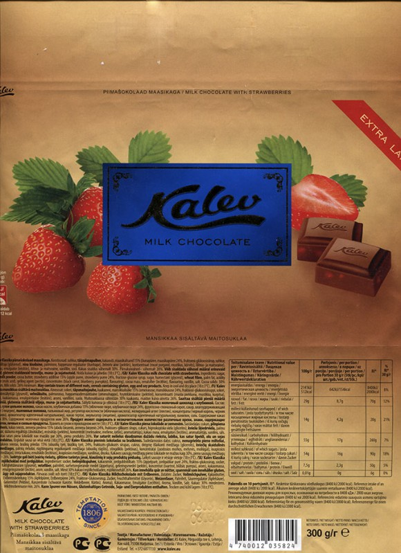 Kalev milk chocolate, with strawberry, 300g, 06.03.2014, AS Kalev, Lehmja, Estonia