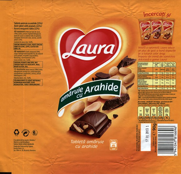 Laura, dark tabet with peanuts, 90g, 07.01.2012, Kandia Dulce S.A, Bucharest, Romania