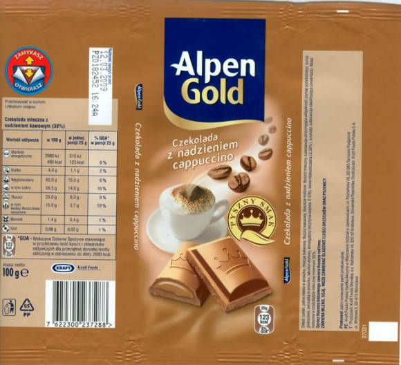 Alpen Gold, milk chocolate with cappuccino cream filling, 100g, 12.03.2008, Kraft Foods Polska S.A, Jankowice, Tarnowo Podgorne, Poland