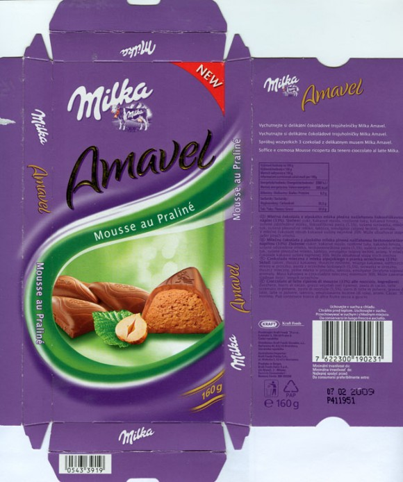 Milka, milk chocolate filled with hazelnuts flavoured praline, 100g, 07.02.2008, N.V. Kraft Foods Belgium S.A., Halle, Belgium